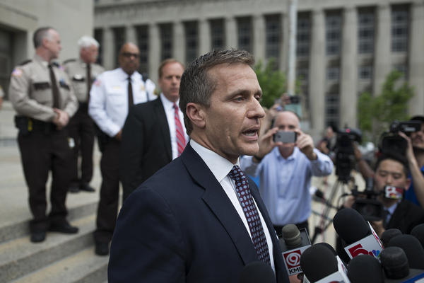 Gov. Eric Greitens makes a statement to reporters on May 14 after his invasion of privacy case was dropped.
