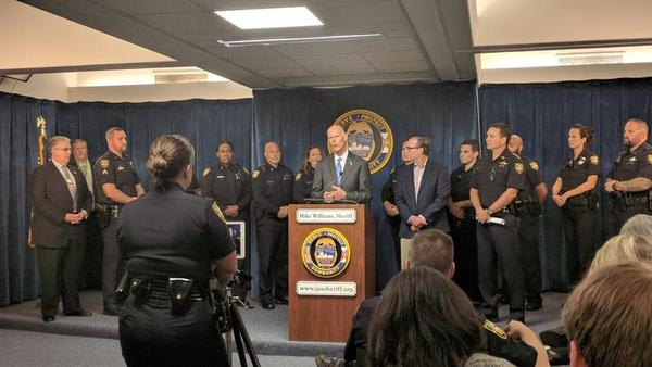 Gov. RIck Scott announces release of the 2017 Uniform Crime Report in Jacksonville Tuesday.