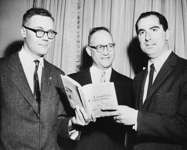 Roth (right) won a National Book Award in 1960 for his novella <em>Goodbye, Columbus</em>. He's shown here next to Robert Lowell (left) and Richard Ellmann, who also won National Book Awards that year.