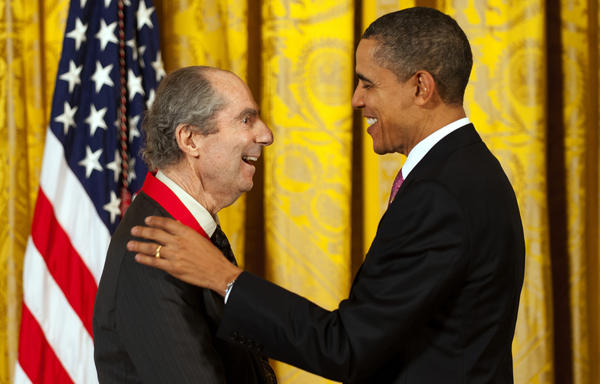 President Barack Obama presents Roth with a National Humanities Medal in 2011.