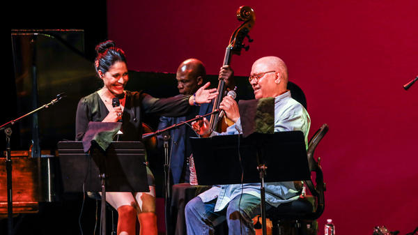 Pablo Milanés (right) and his daughter Haydée Milanés perform together at the Kennedy Center on May 16, 2018.