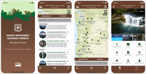 A new app from the U.S. Forest Service provides trail maps and updates on weather, wildfires and road conditions for national forests and grasslands.
