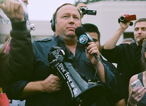Alex Jones at a protest in Dallas, Texas.