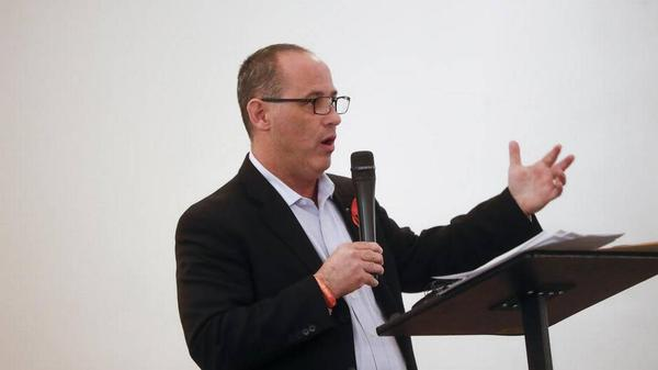 One of the parents to address the investigating commission was Fred Guttenberg, shown here speaking at an event on April 9, who lost his daughter Jaime during the Feb. 14 shooting at Stoneman Douglas High.