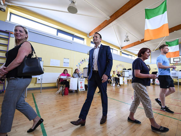 Leo Varadkar, Ireland's prime minister, or <em>taoiseach,</em> leaves a Dublin polling station after casting his vote in Friday's referendum. Varadkar has campaigned aggressively for repealing Ireland's abortion ban.