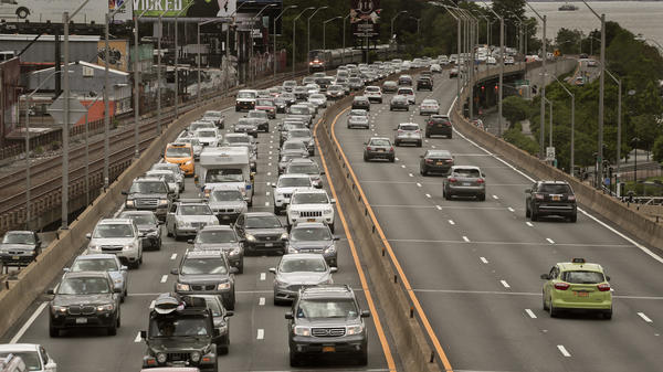 Traffic crawls on the northbound lanes of the Henry Hudson Parkway leading out of Manhattan on Friday.