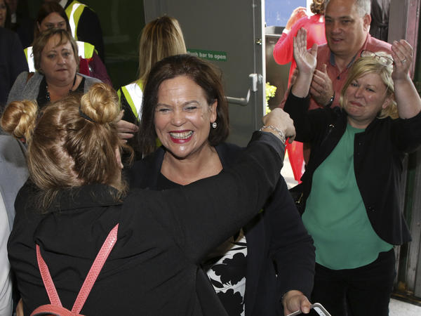 "Sinn Fein party leader Mary Lou McDonald celebrates the ""yes"" campaign in Dublin as the results from the referendum begin to come in on Saturday."