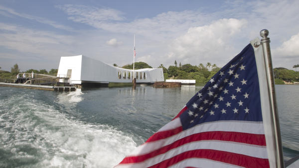 This Dec. 7, 2012 photo shows The USS <em>Arizona</em> Memorial in Pearl Harbor, Hawaii. The site receives an average of 4,000 to 5,000 visitors a day.