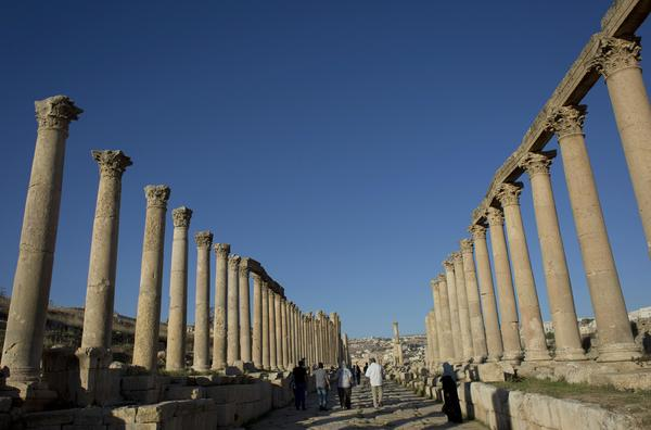 Jerash is famous for its well-preserved Greco-Roman columns, seen here on the ancient Jordanian city's main street.