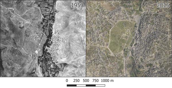 Aerial photographs from 1953 (left) and 2015 show rapid growth in the modern city of Jerash, particularly in the eastern part of the ancient city and much of its immediate surroundings.