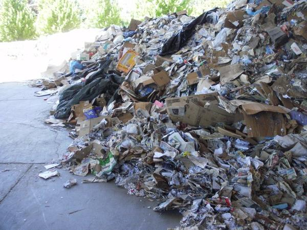 <p>Piles of unsold recycling at Southern Oregon Aspire in Grants Pass.</p>