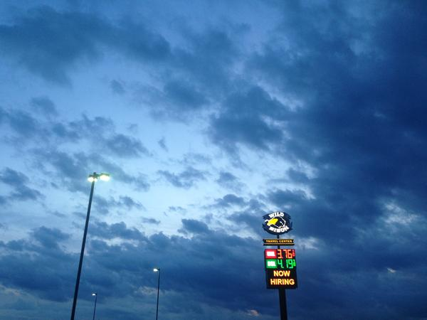 The Wild Bison truck stop, pictured here at night, is where journalist Maya Rao began her reporting for her non-fiction book 'Great American Outpost.'