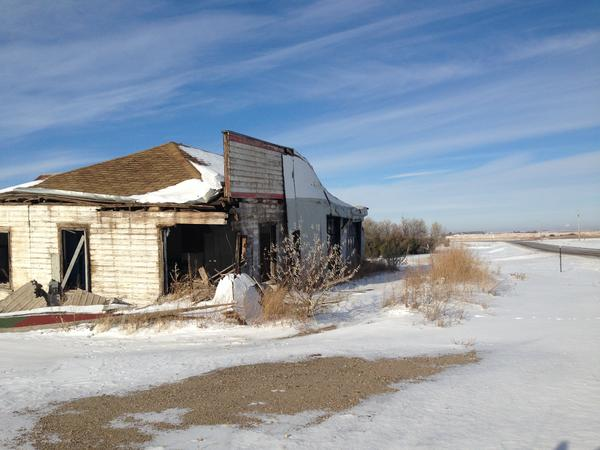 An abandoned gas station in western North Dakota where a fugitive dumped radioactive oil waste.