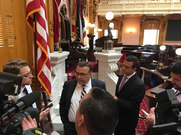 House Speaker Pro Tem Kirk Shuring talks with reporters