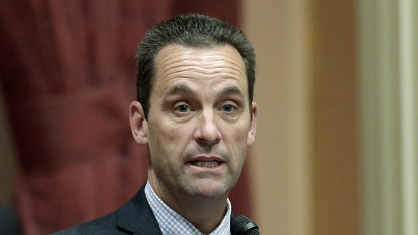 In this May 28, 2014, file photo, then-California state Sen. Steve Knight, R-Palmdale, speaks at the Capitol in Sacramento, Calif.