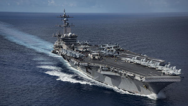 The USS Carl Vinson transits the Philippine Sea while conducting a bilateral exercise with the Japan Maritime Self-Defense Force last April in the Philippine Sea.