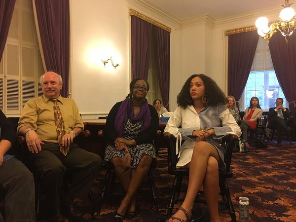 From left: Keith Goslant, Rep. Kiah Morris, and Zymora Davinchi spoke in support of an ethnic studies bill at a forum in May. Supporters of the legisaltion have struggled to gain traction for the bill in Montpelier.