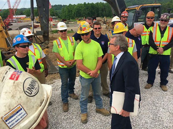Ohio Republician Governor Candidate Mike DeWine talks with members of International Union of Operating Engineers Local 18.