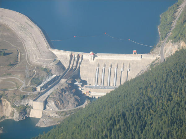 An aerial photograph of the Revelstoke Dam in British Columbia.
