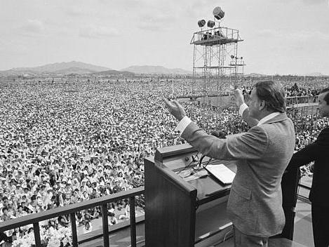 Evangelist Billy Graham preaches to over half a million South Koreans in Seoul in 1973.