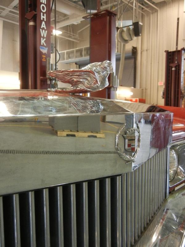 """The hood ornament on Chuck Berry's 1973 Eldorado is the factory original — """"amazing,"""" Smithsonian fleet manager Bill Griffiths says."""