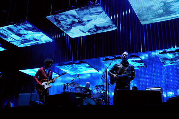 Radiohead's headlining set on April 14 featured many songs from their album <i>The King of Limbs</i>, and an excellent ponytail on the head of singer Thom Yorke (right).