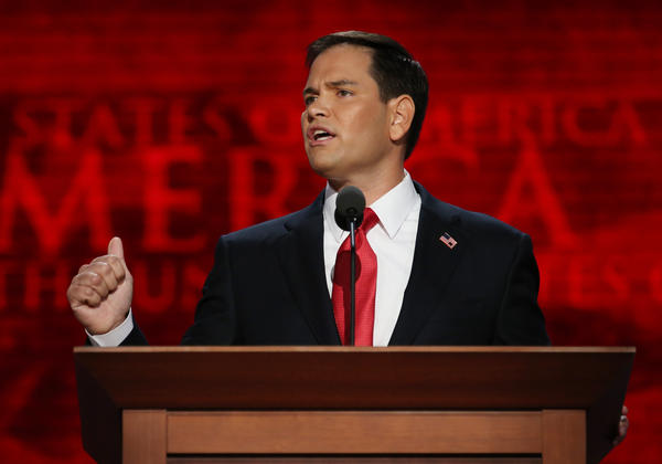 Sen. Marco Rubio speaks during the final day of the 2012 Republican National Convention in Tampa.