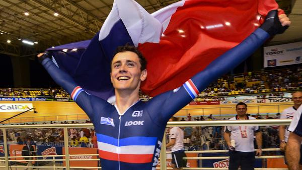 French cyclist Thomas Boudat celebrates his win at the track world championships last month. Critics of the new U.S. soccer uniform say it too closely resembles the French flag.
