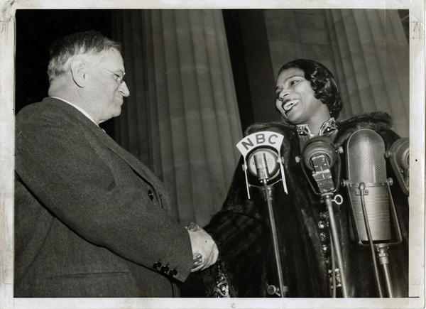"""Interior Secretary Harold Ickes facilitated the concert and introduced Anderson, saying: """"In this great auditorium under the sky, all of us are free. Genius, like justice, is blind. Genius draws no color lines."""""""
