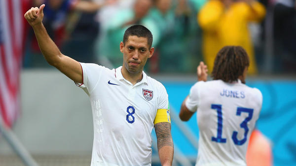 American captain Clint Dempsey acknowledges the fans after the U.S. team's 1-0 loss to Germany at Arena Pernambuco in Recife, Brazil. The Americans finished second in the group, sending them into the knockout round.