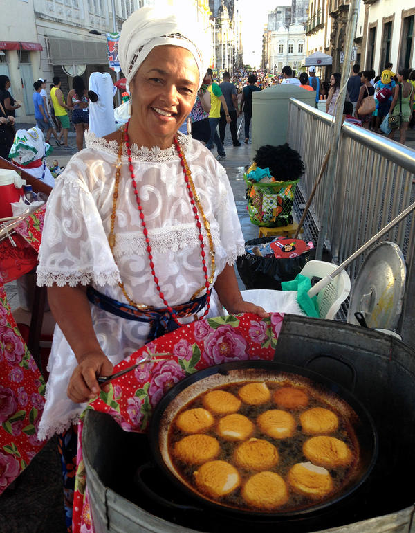 <em>Acaraje</em> vendor Rita Santos and many like her fought FIFA, the World Cup's governing organization, to continue selling the traditional food outside Brazil's stadiums.