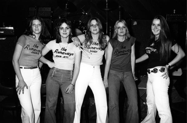 The Runaways (from left, Jackie Fox, Joan Jett, Sandy West, Cherie Currie and Lita Ford) in January 1976.