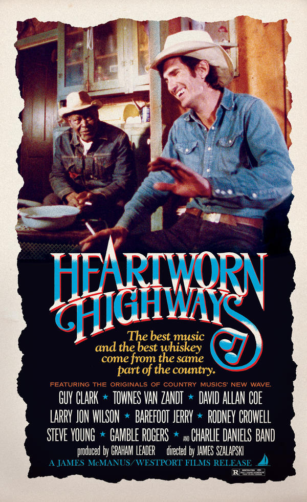 The film <em>Heartworn Highways</em> documented singer-songwriters like Townes Van Zandt (right), pictured here with Uncle Seymour Washington.