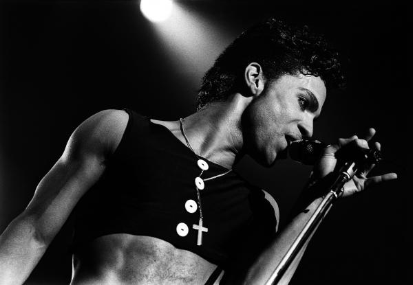 Prince on stage in The Netherlands in 1986, during the tour for his album <em>Parade. </em>