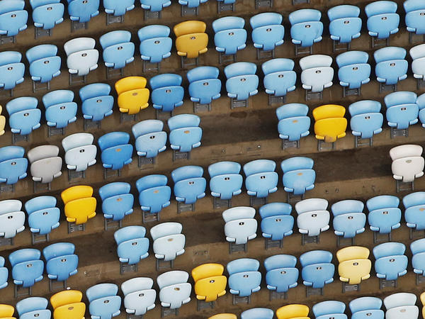 In this shot taken Thursday, Maracanã's seating is a little, well, less than at capacity. Chairs have been ripped from their places — but that's not the only problem that has befallen the stadium since its star turn on the world stage.
