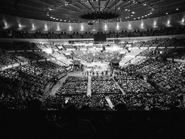 More than 20,000 people packed New York's Madison Square Garden on June 13, 1969, to attend the opening of evangelist Billy Graham's 10-day crusade.