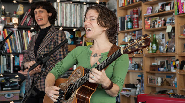 Ani DiFranco performs a Tiny Desk Concert on Oct. 2, 2017. (Jennifer Kerrigan/NPR)