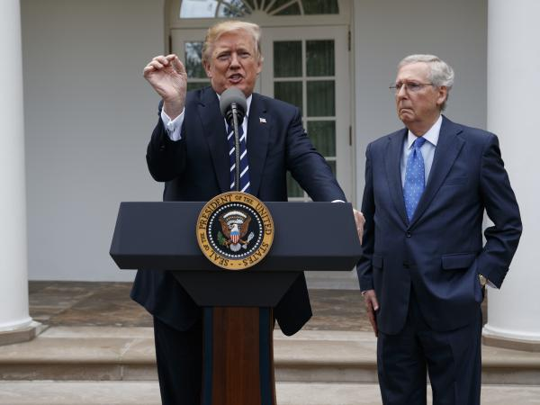 """President Trump and Senate Majority Leader Mitch McConnell, R-Ky., at an Oct. 16 impromptu press conference where Trump said their relationship is """"outstanding."""""""