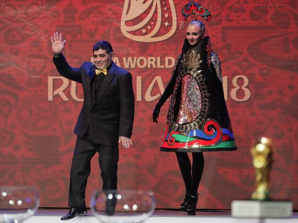 Argentinian soccer legend Diego Maradona was one of several stars who took part in Friday's draw for the 2018 World Cup. The widely watched draw was held at the Kremlin in Moscow.