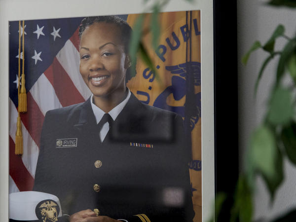 A framed photograph of Shalon in uniform hangs on the wall in her home. She worked at the Centers for Disease Control and Prevention in Atlanta, studying how social determinants like food deserts can affect one's health.
