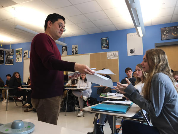 History and psychology teacher Albert Cho became the first, and still only, teacher at Newton North High School requiring students to lock their phone in a pouch during class.