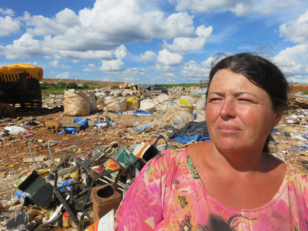 Gardivania Teixeira Lima, a single mother, works at the dump to support her seven children.