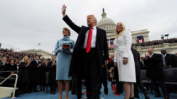President Donald Trump acknowledges the audience after taking the oath of office Jan. 20, 2017.