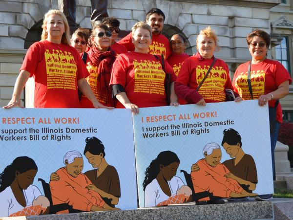 Isabel Escobar (far right) was among a group of Arise Chicago members — Latina and Polish home cleaners, nannies and home care workers — advocating for the Illinois Domestic Workers Bill of Rights during an October 2015 trip to the state capital in Springfield.