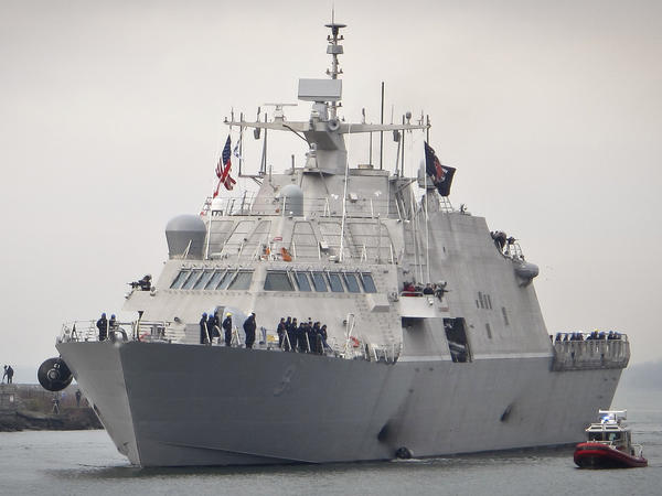 The Navy's new USS Little Rock arrives at the harbor in Buffalo, N.Y., last December. In imposing tariffs on steel and aluminum imports, President Trump said the U.S. military should be as self-sufficient as possible.