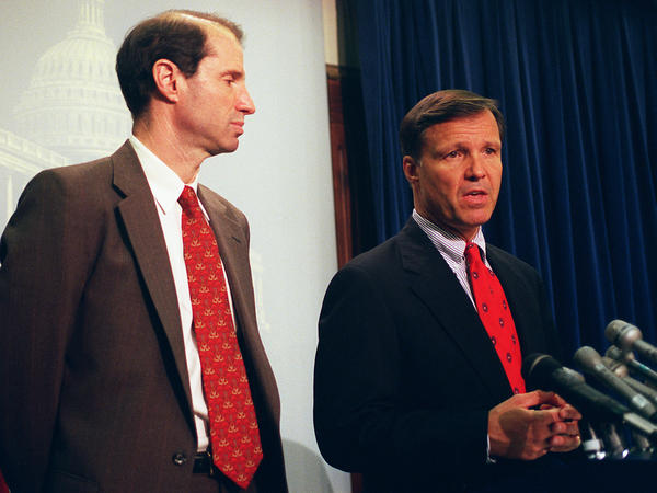 Sen. Ron Wyden, D-Ore., (left) and Rep. Christopher Cox, R-Calif., speak about the Communications Decency Act in 1997. They were behind Section 230, which says that with some exceptions, online platforms can't be sued for something posted by a user.