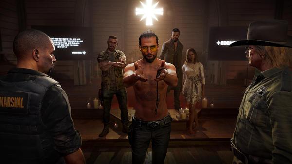 A still<em> </em>from <em>Far Cry 5</em> shows the<em> </em>fictional apocalyptic cult that the video game follows.