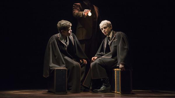 Harry's son, Albus (Sam Clemmett, left), befriends Scorpius Malfoy (Anthony Boyle) on the Hogwarts Express