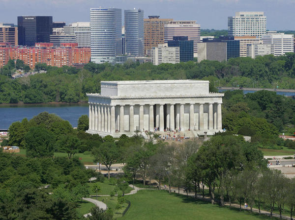 The skyline of Rosslyn, Va., is seen behind the Lincoln Memorial in Washington, D.C. Rosslyn is located in Arington County, a participant in the HQ bid from Northern Virginia.