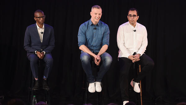 Spotify executives Gustav Söderström, Troy Carter and Babar Zafar answer questions at a press conference in New York City on April 24.